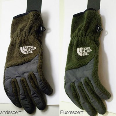 Figure 1.1 - Glove under different light sources. (Picture from GTI)